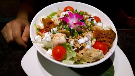 Asian fusion salad and rice dish in Frankfurt.