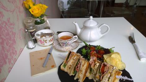 Lunch at Brodies Vintage Tearoom in Linlithgow, Scotland.